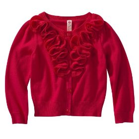 Infant toddler girls' cherokee® pink punch long-sleeve rouched sweater