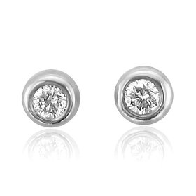 10k white gold round brilliant cut diamond stud earrings (gh, si-i, 0.05 carat)