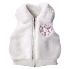 Girls' hello kitty white faux fur winter vest