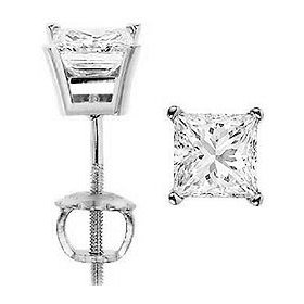 0.60 carat ct princess cut diamond stud earrings d color, i clarity; 14k white or yellow gold; screw
