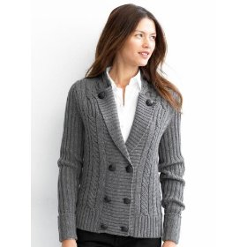 Banana republic cable-knit military sweater jacket