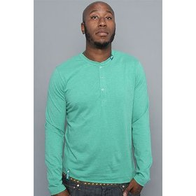 Lrg core collection the cc long sleeve henley tee in bucks green heather,tops for men