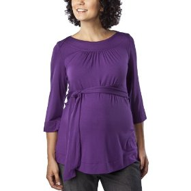 Merona® maternity 3/4-sleeve belted fashion top - grape