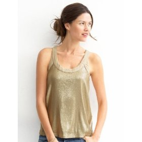 Banana republic petite sequin twist-neck tank