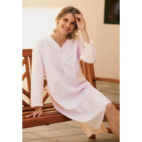 Cotton nightshirt / striped nightshirt