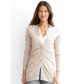 Banana republic petite grosgrain shirred placket cardigan
