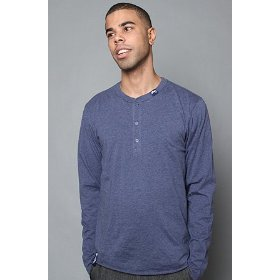 Lrg core collection the cc long sleeve henley tee in navy heather,tops for men