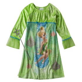 Girls' sleepwear tinkerbell green night gown with wand