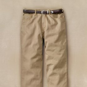 Brushed cotton canvas 5-pocket jeans / olive