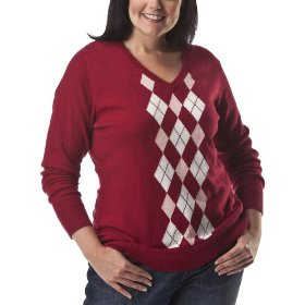 Womens' plus-size merona® red/white v-neck argyle sweater