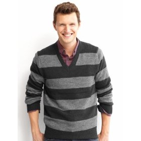 Banana republic rubgy stripe v-neck sweater