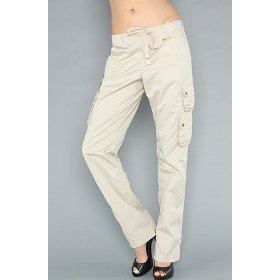Luxirie by lrg the luxirie basic cargo pant in khaki,pants for women