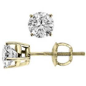 Round 0.50 carat ct 1/2 carat diamond stud earrings (d color i clarity) with screw back design in 14