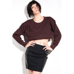 Cheap monday the crop sweater in plum hood ,sweatshirts for women