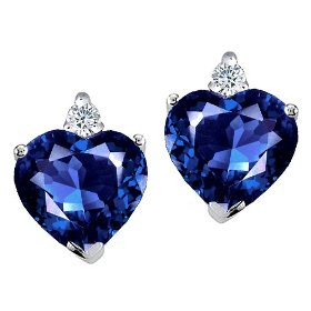 2.14 cttw heart shape created sapphire and genuine diamonds earring studs in 14k white gold