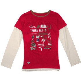 Reebok tampa bay buccaneers girls (7-16) long sleeve faux layer t-shirt
