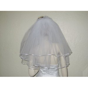 2 Tier Shoulder Plain Glimmer Wedding Bridal Veil Satin Edge