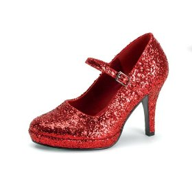 Womens sexy high heel shoes 4 inch dorothy shoe red ruby slippers glitter mary jane shoe