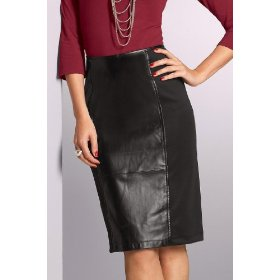 Metrostyle leather & knit combo skirt