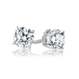 18k white gold, round, diamond 4-prong stud earrings (1/2 cttw, h-i color, si1-si2 clarity)
