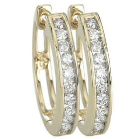 14k yellow gold channel set round diamond hoop earrings (0.49 ctw, gh, si1)