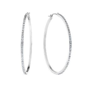 Large diamond hoop earrings in 14k white gold