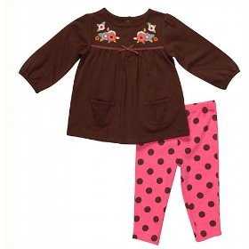 Carter's pink floral & polka dot play all day set