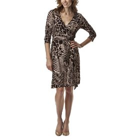 Merona® petite faux wrap animal print dress - brown/cream