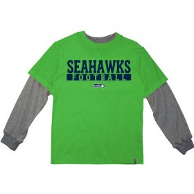 Reebok seattle seahawks boys (4-7) long sleeve splitter alternate t-shirt
