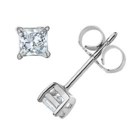 Princess cut solitaire stud diamond earrings 1/2 carat (ctw) in 14k white gold (certified)