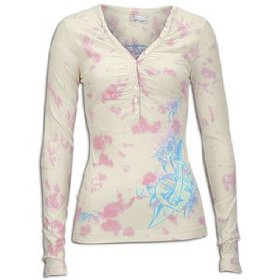 Ed hardy shot thru the heart l/s henley - women's