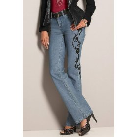 Metrostyle metro blues flocked jeans