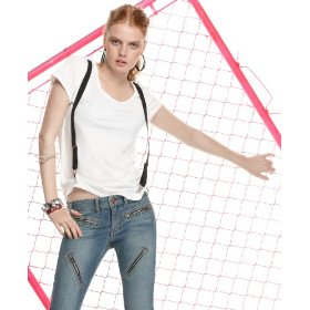 Material girl top, scoop neck short sleeve suspender tee
