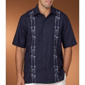 Cubavera drink stirrers linen embroidered shirt