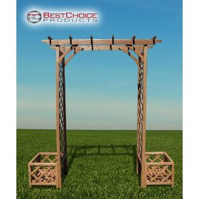 New outdoor wood garden arbor trellis w/ planter boxes rose garden decor