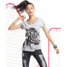 Material girl top, scoop neck short sleeve studded tiger print tee