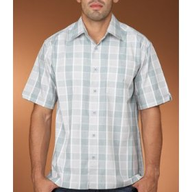 Cubavera yarn dyed plaid rayon shirt