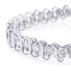 3 cttw. diamond tennis bracelet, 14k white