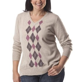 Womens' plus-size merona® oatmeal/plum v-neck argyle sweater