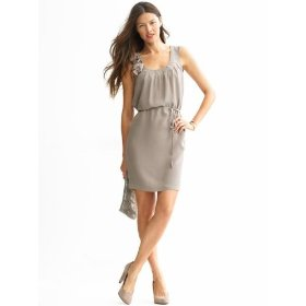 Banana republic petite silk rosette trim dress