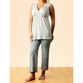 A pea in the pod: sleeveless v-neck shirring detail nursing pajama set