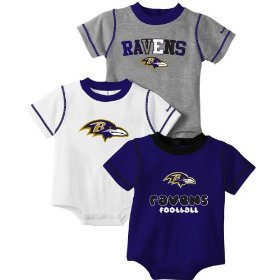 Reebok baltimore ravens infant 3 piece creeper set