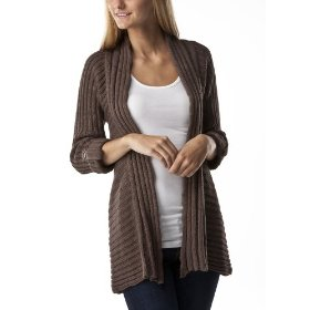 Xhilaration® juniors crochet back cardigan sweater - brown