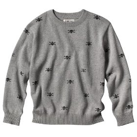 Boys' cherokee® gray skull long-sleeve sweater