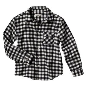 Boys' cherokee® white/black plaid long-sleeve flannel shirt