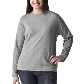 Women's plus-size cherokee® heather gray long-sleeve crew-neck basic tee