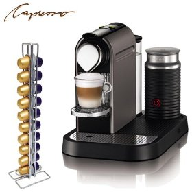 Nespresso c120 citiz steel gray espresso machine & milk frother with swissmar capstore vista 20 for