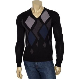 Versace mens merino wool v neck sweater small
