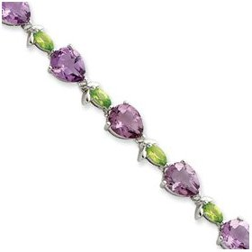 Sterling silver 7inch amethyst and peridot bracelet - box clasp