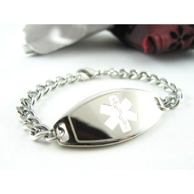 Engraved - steel, medical id bracelet, curb chain, custom engraving incld.